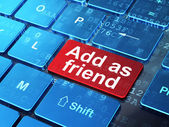 Social network concept: Add as Friend on computer keyboard backg — Stock Photo