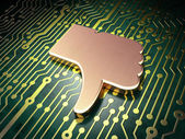 Social network concept: Unlike on circuit board background — Stock Photo