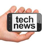 News concept: Tech News on smartphone — Zdjęcie stockowe