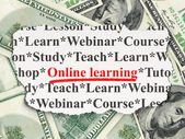 Education concept: Online Learning on Money background — Stock fotografie