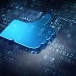 Social network concept: Blue Like on digital background — Foto Stock
