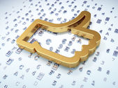 Koncepcja sieci społecznych: Złoty jak na tle cyfrowy — Zdjęcie stockowe