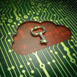 Networking concept: Cloud Whis Key on circuit board background — Stock Photo