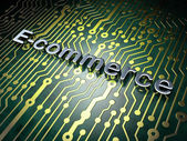 Business concept: E-commerce on circuit board background — Stock Photo