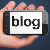 SEO web design concept: Blog on smartphone — Stock Photo