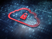 Cloud technology concept: Red Cloud Whis Padlock on digital back — Stock Photo