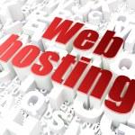SEO web design concept: Web Hosting on alphabet background — Stock Photo #25570457