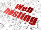 SEO web design concept: Web Hosting on alphabet background — Stock Photo