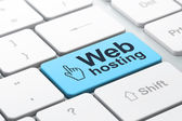 Web development concept: Mouse Cursor and Web Hosting on compute — Stock Photo