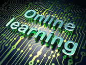 Education concept: Online Learning on circuit board background — Stok fotoğraf
