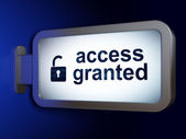 Protection concept: Access Granted and Opened Padlock on billboa — Stockfoto