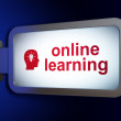 Education concept: Online Learning and Head Whis Light Bulb on b — 图库照片 #25979465
