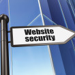 Protection concept: Website Security on Building background — ストック写真
