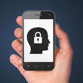Finance concept: Head Whis Padlock on smartphone — Stock Photo