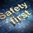 Stock Photo: Protection concept: Golden Safety First on digital background