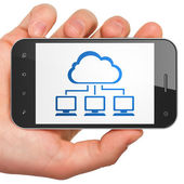 Cloud computing concept: Cloud Network on smartphone — Stock Photo