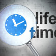 Time concept: Clock and Life Time with optical glass — Foto de Stock