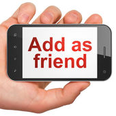 Social media concept: Add as Friend on smartphone — Stockfoto