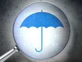 Security concept: Umbrella with optical glass on digital backgr — Stock Photo