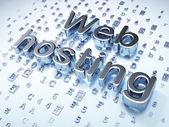Conceito de SEO web design: prata Web Hosting em fundo digital — Fotografia Stock