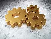 Web development concept: Golden Gears on digital background — Stock Photo