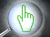 Web design concept: Mouse Cursor with optical glass on digital — Stock Photo