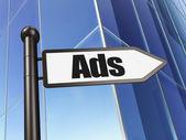 Marketing concept: Ads on Building background — Stok fotoğraf
