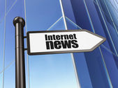 News concept: Internet News on Building background — Stock Photo