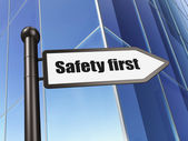 Safety concept: Safety First on Building background — 图库照片