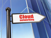 Cloud technology concept: Cloud Networking on Building backgroun — Stock Photo