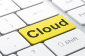 Networking concept: Cloud on computer keyboard background — Foto Stock