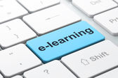 Education concept: E-learning on computer keyboard background — Foto de Stock