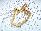 Web development concept: Golden Mouse Cursor on digital backgrou — Stock Photo