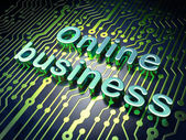 Finance concept: Online Business on circuit board background — Stock Photo