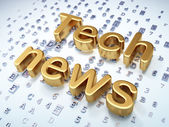 News concept: Golden Tech News on digital background — Stock Photo