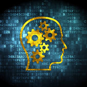 Education concept: Head With Gears on digital background — Stock Photo
