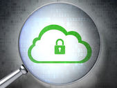Networking concept: Cloud With Padlock with optical glass on di — Foto de Stock
