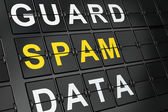 Protection concept: Spam on airport board background — Stock Photo