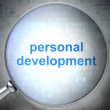 Education concept: Personal Development with optical glass — Lizenzfreies Foto
