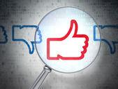 Social media concept: Like, Unlike with optical glass on digital — Stock Photo