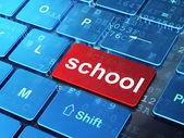 Education concept: School on computer keyboard background — Zdjęcie stockowe