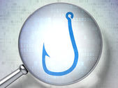 Protection concept: Fishing Hook with optical glass on digital — Stock Photo