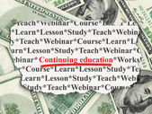 Education concept: Continuing Education on Money background — Stock Photo