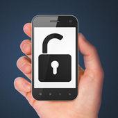 Data concept: Opened Padlock on smartphone — Stock Photo