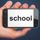 Education concept: School on smartphone — Stock Photo