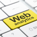 SEO web design concept: Web Analytics on computer keyboard backg — Stock Photo