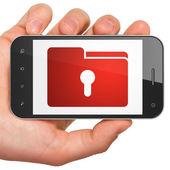 Finance concept: Folder With Keyhole on smartphone — Stock Photo