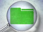 Finance concept: Folder with optical glass on digital backgroun — Stock Photo