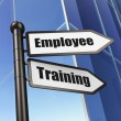 Stock Photo: Education concept: Employee Training on Building background