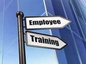 Education concept: Employee Training on Building background — Stock Photo